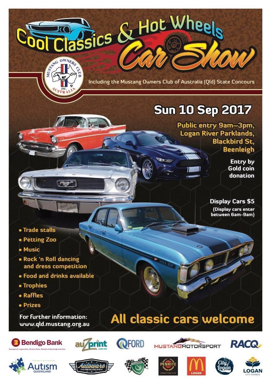 cool classics & hot wheels car show flyer
