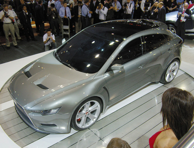 Looking down on Silver Mitsubishi Sportback Concept