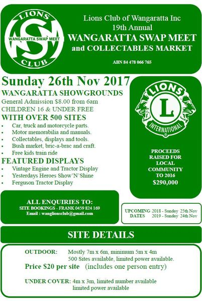 19th Annual Wangaratta Lions Club Swap Meet and Collectables Market flyer