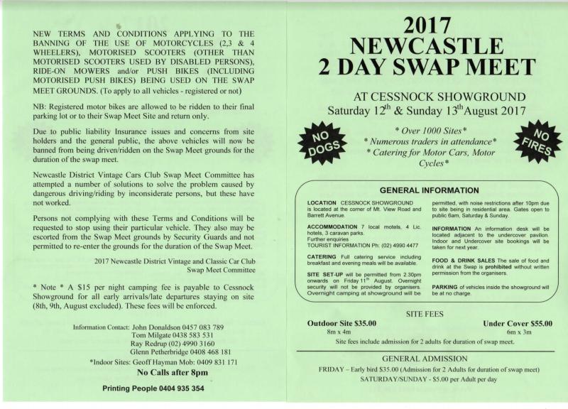 2017 Newcastle 2 Day Swap Meet flyer