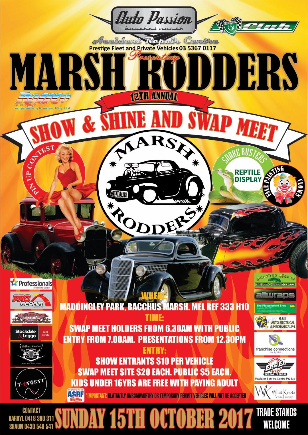 Marsh Rodders Annual Show n Shine & Swap Meet flyer