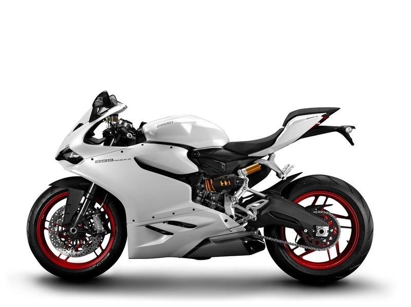 A white Ducati 899 Panigale side