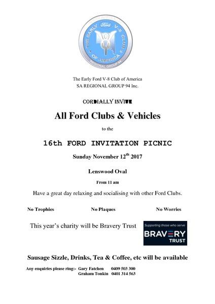 16th Ford Invitation Picnic flyer