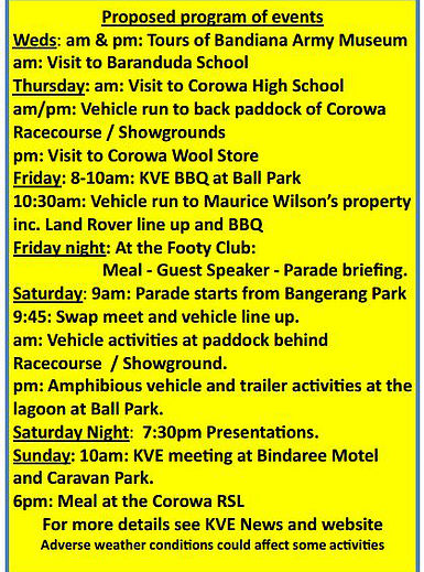 39th Annual Corowa Swim-in and Military Vehicle Gathering itinerary
