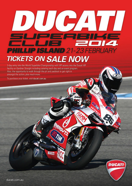 Ducati 2014 PI WSBK 'Superbike Club' tickets now available