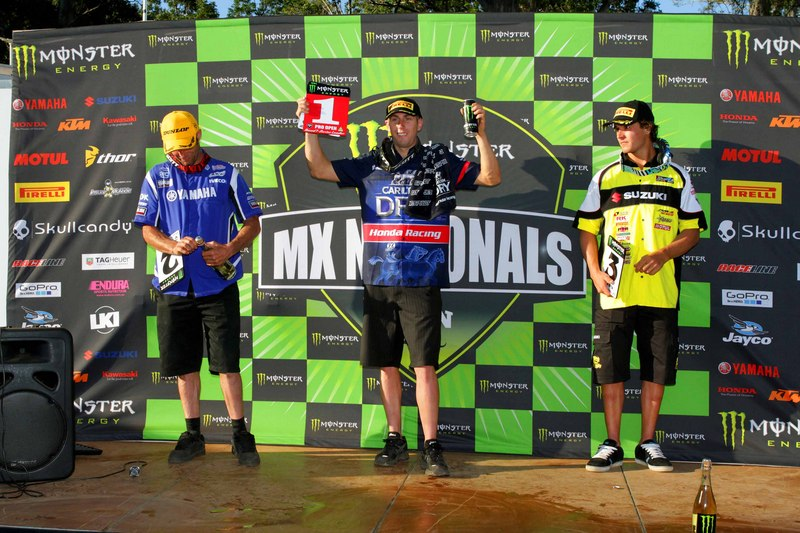 The podium from Round 1 of the 2012 MX Nationals