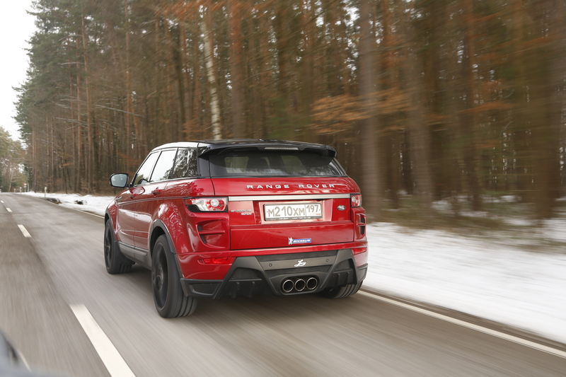 A red tuned Range Rover Evoque
