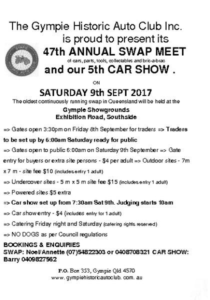 Gympie Historic Auto Club 47th Annual Swap Meet & 5th Car Show flyer