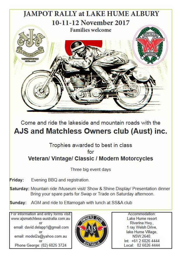 AJS and Matchless annual Jampot Rally 2017 flyer