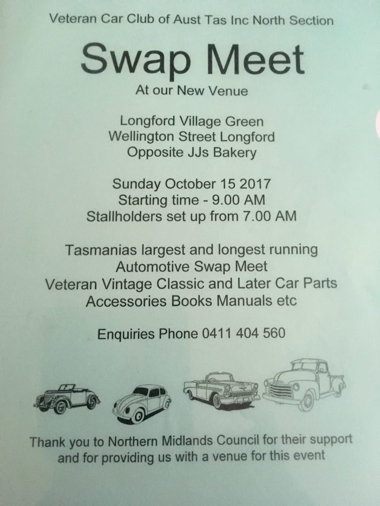 Northern Section Longford Swap Meet flyer