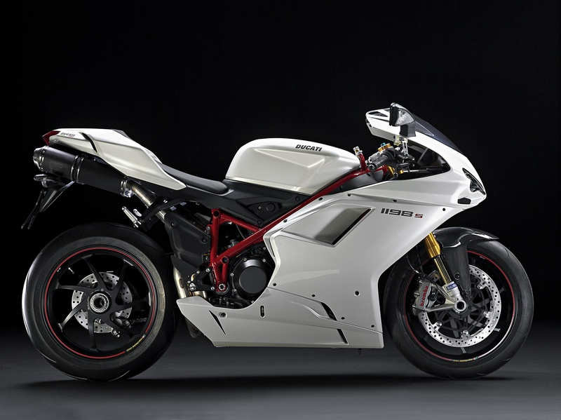 2010 Ducati 1198 S Superbike in White Pearl side angle