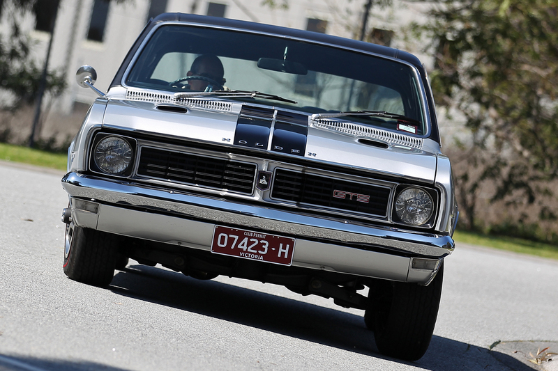 A silver Holden HT Monaro front