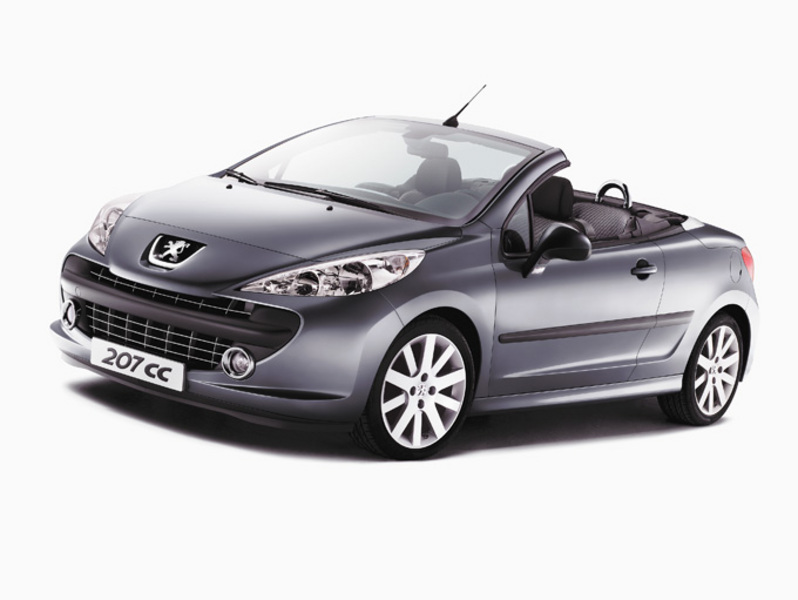 Dark Grey 2007 Peugeot 207 CC with roof down