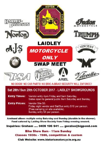 Laidley Motorcycle Only Swap Meet flyer