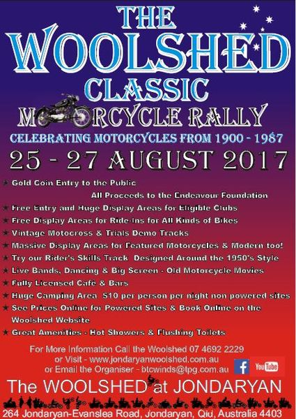 The Woolshed Classic Motorcycle Rally flyer
