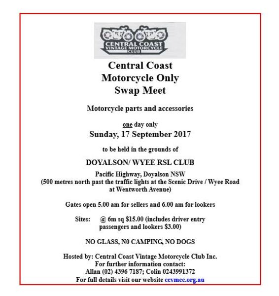 Central Coast Motorcycle Only Swap Meet