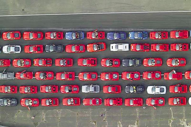 Ferrari Guinness World Record Parade sky view