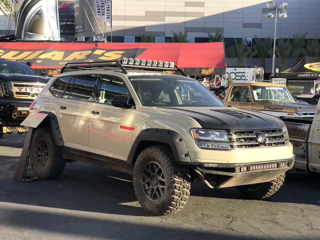 This version of Volkswagen's Atlas SUV was created by racer Tanner Foust in partnership with LGE CTS Motorsport. Designed for offroad rally competition, modifications to the seven-seat Atlas included jacked-up suspension and offroad wheels and tyres, wheelarch flares, front bumper delete, auxiliary lighting and roof-mounted carry rack.