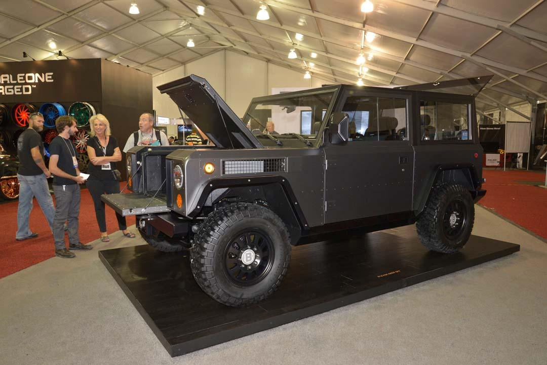 This brick of a machine is the 'Bollinger B1' from Bollinger Motors. Claiming to be the world's first all-electric AWD sport utility truck, the B1 also claims exceptional offroad ability. Built on an all-aluminium chassis, the electric drivetrain outputs 268kW and 639Nm, while the ride height is adjustable and the lack of an internal combustion engine means there's load space under the bonnet.