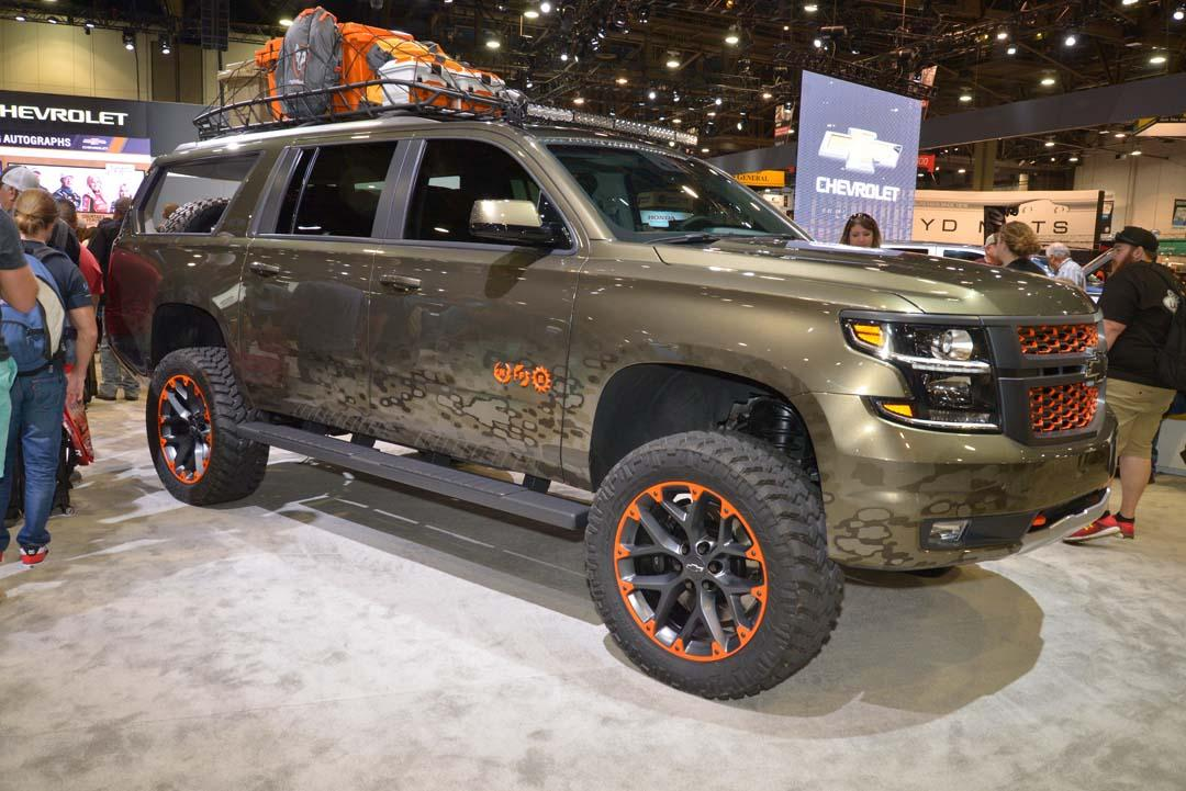 "Stylised Chevy was created in collaboration with US country music star Luke Bryan. Based on a 2018-model Suburban SUV, changes included a suspension lift and 22-inch wheels, along with plenty of other parts from the Chevrolet Accessories catalogue. Bryan's ""Huntin', Fishin' and Lovin' Everyday"" single influenced the design and was graphically represented by special logos on the front doors."