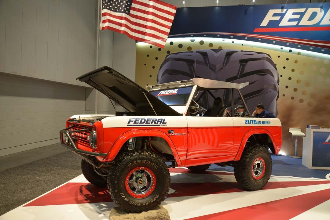 Classic Ford Bronco on the Federal Tire stand featured Baja 1000 styling in the vein of the Parnelli Jones and Bill Stroppe 'Big Oly' racer from the 1970s. This one was built by Elite Broncos as a tribute to Big Oly and had full Baja-spec features, including suspension with 14 inches of travel and a 5.0-litre V8 engine backed by a C4 auto.