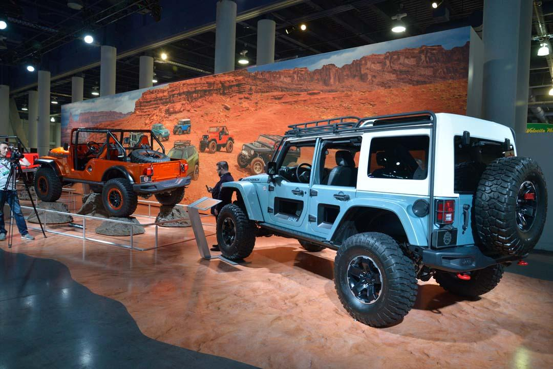 """Jeep's mammoth stand featured a few familiar customs from the Moab Easter Safari in Utah, like the CJ Sixty Six, Shortcut and Switchback (pictured), but there were a few new additions, too, including a """"moparised"""" Durango SRT. The main talking point of the FCA stand this year was the new 6.2-litre supercharged V8 engine, which is being released in crate form to suit pre-1976 vehicles."""